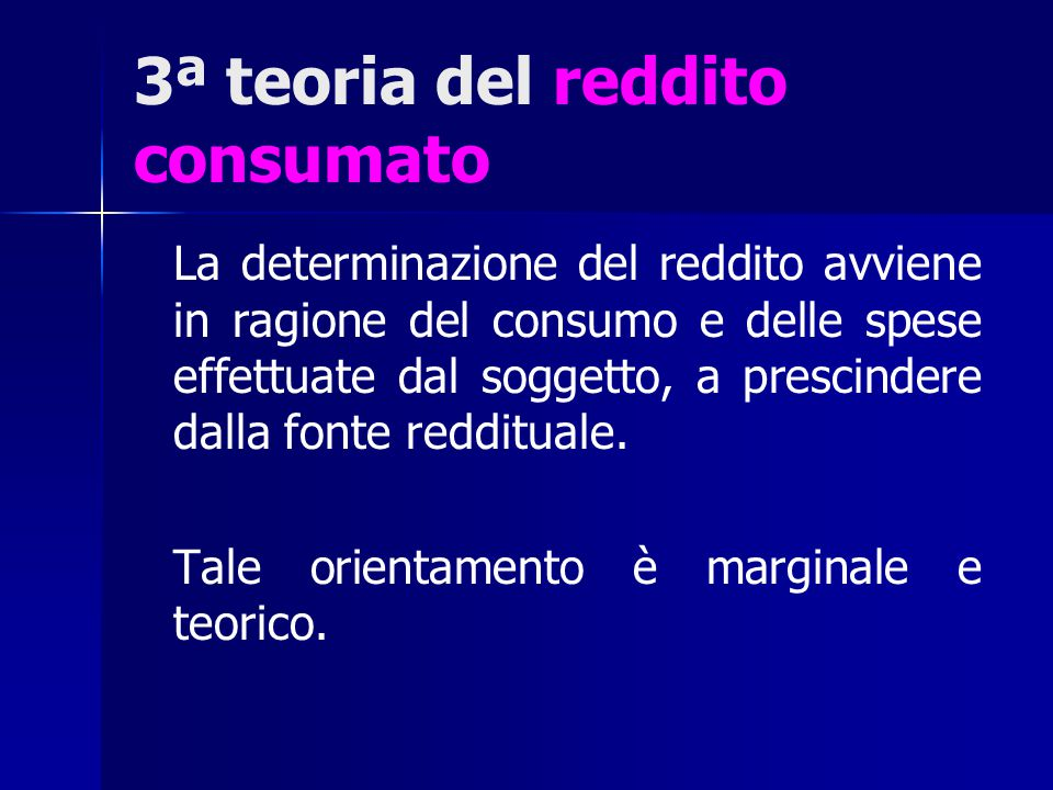 3ª teoria del reddito consumato