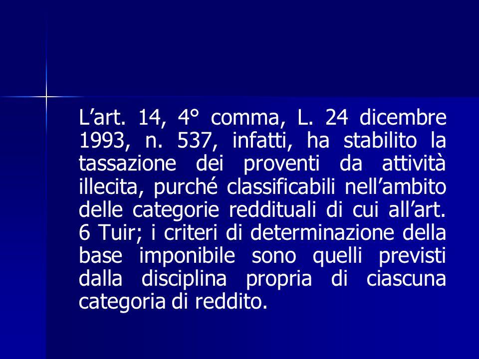 L'art. 14, 4° comma, L. 24 dicembre 1993, n