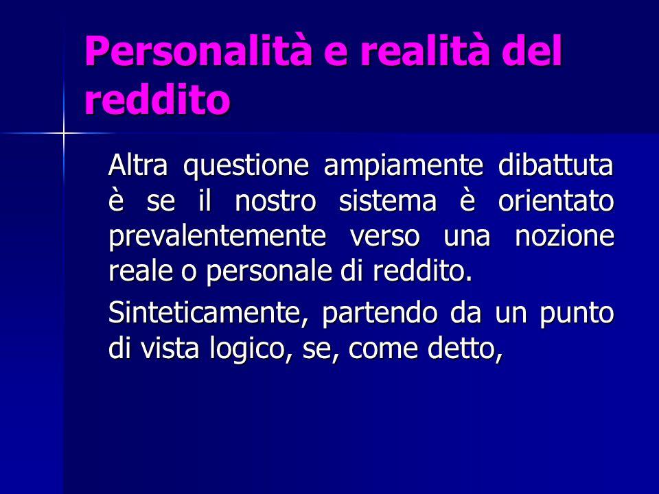 Personalità e realità del reddito