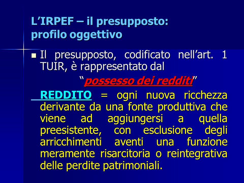 L'IRPEF – il presupposto: profilo oggettivo