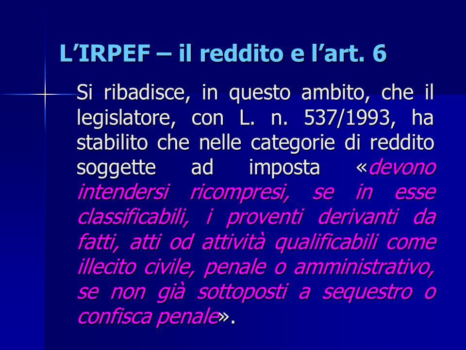 L'IRPEF – il reddito e l'art. 6