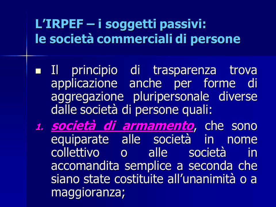 L'IRPEF – i soggetti passivi: le società commerciali di persone