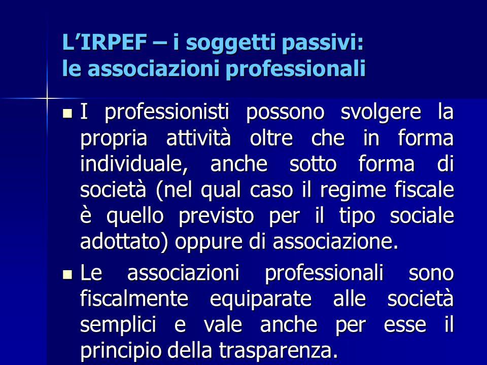 L'IRPEF – i soggetti passivi: le associazioni professionali