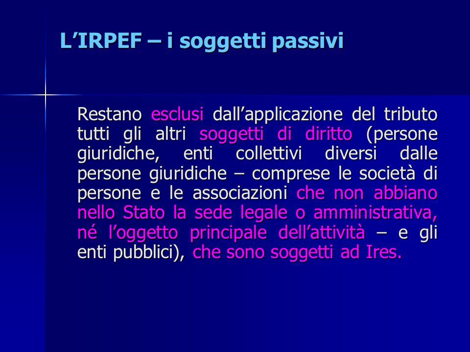 L'IRPEF – i soggetti passivi