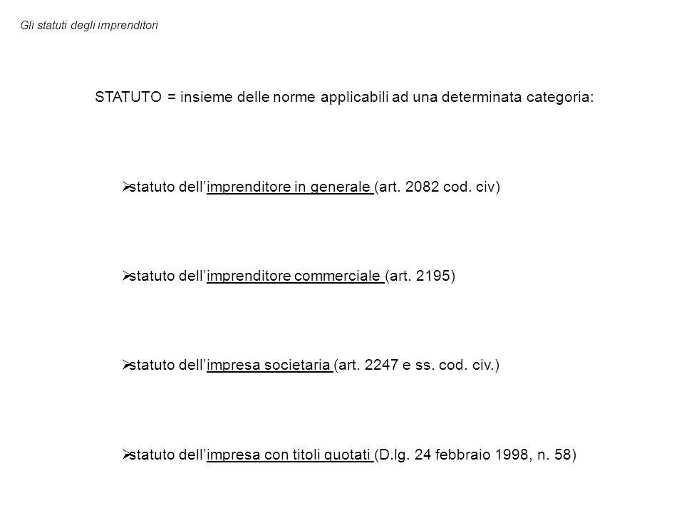 statuto dell'imprenditore in generale (art. 2082 cod. civ)