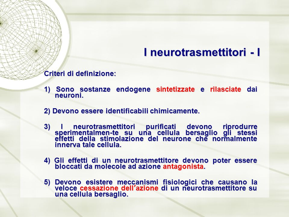 I neurotrasmettitori - I