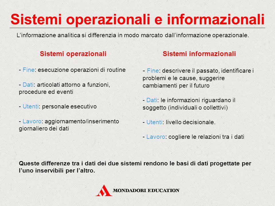 Sistemi operazionali e informazionali Sistemi informazionali