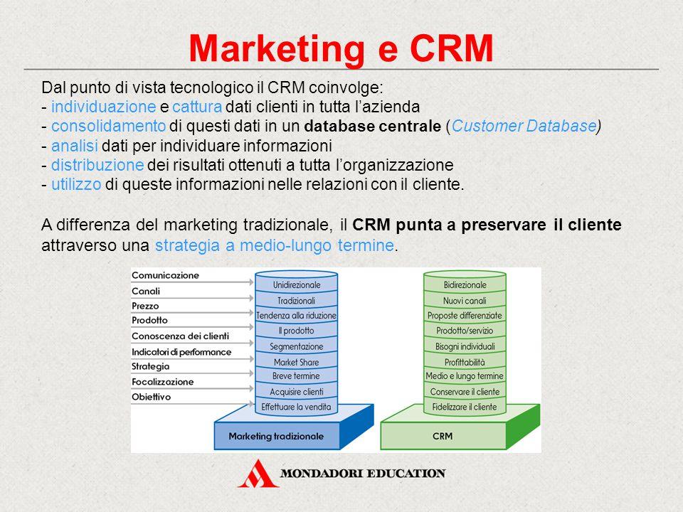 Marketing e CRM Dal punto di vista tecnologico il CRM coinvolge: individuazione e cattura dati clienti in tutta l'azienda.