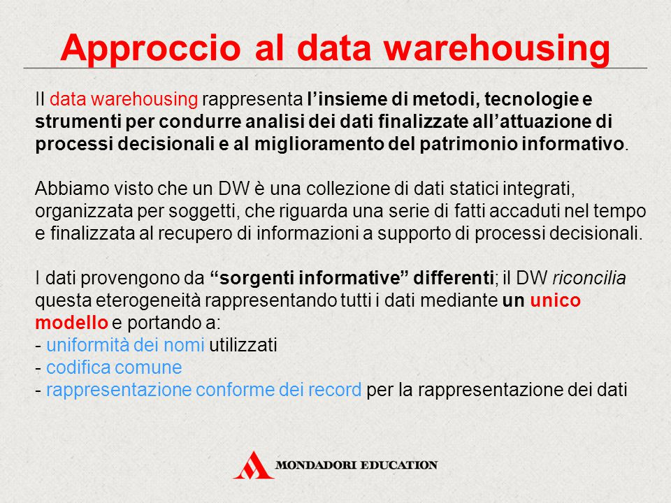 Approccio al data warehousing