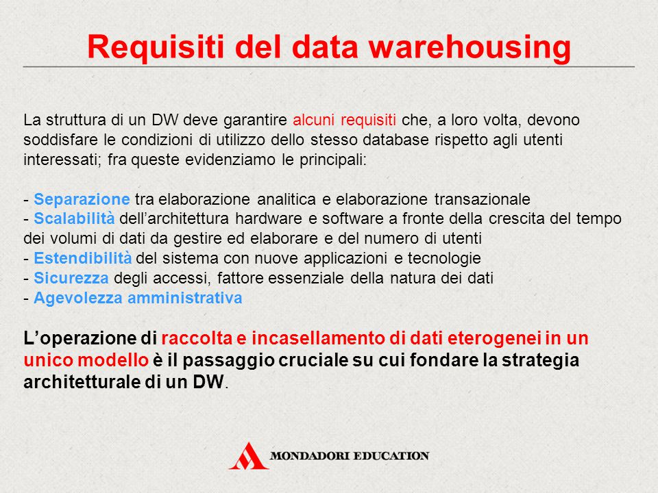 Requisiti del data warehousing
