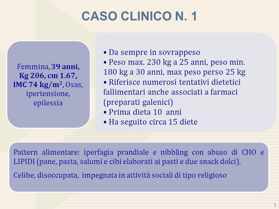 Kg 206, cm 1.67, IMC 74 kg/m2, Osas, ipertensione, epilessia