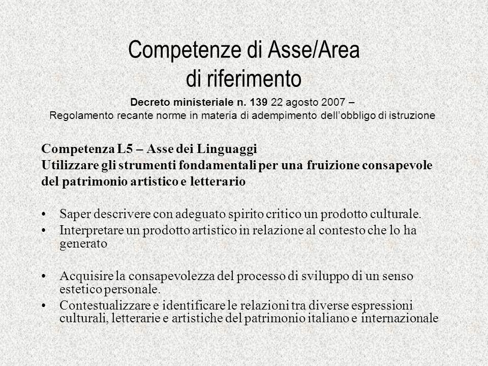 Competenze di Asse/Area di riferimento