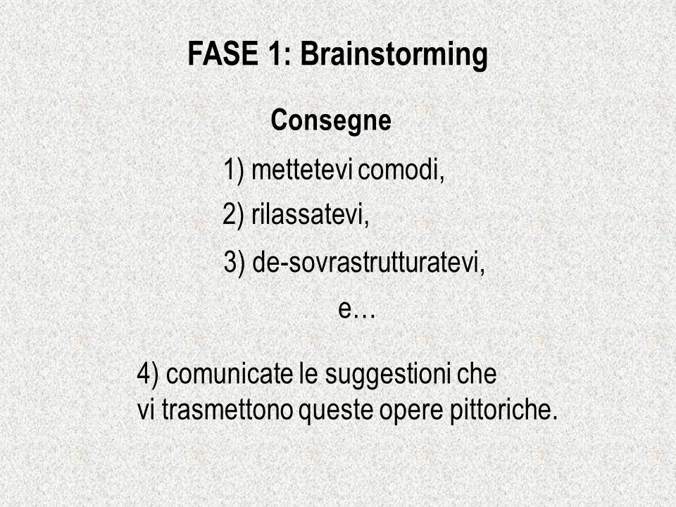 FASE 1: Brainstorming Consegne 1) mettetevi comodi, 2) rilassatevi,