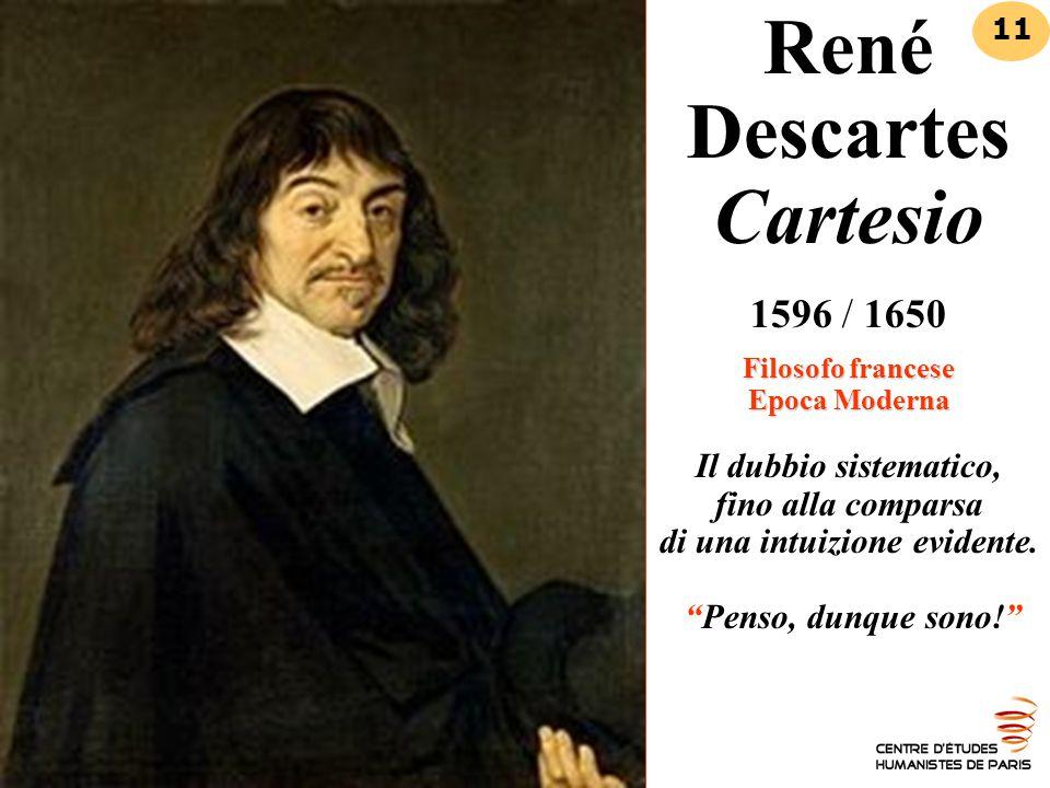 René Descartes Cartesio 1596 / 1650 Filosofo francese Epoca Moderna Il dubbio sistematico, fino alla comparsa di una intuizione evidente. Penso, dunque sono!