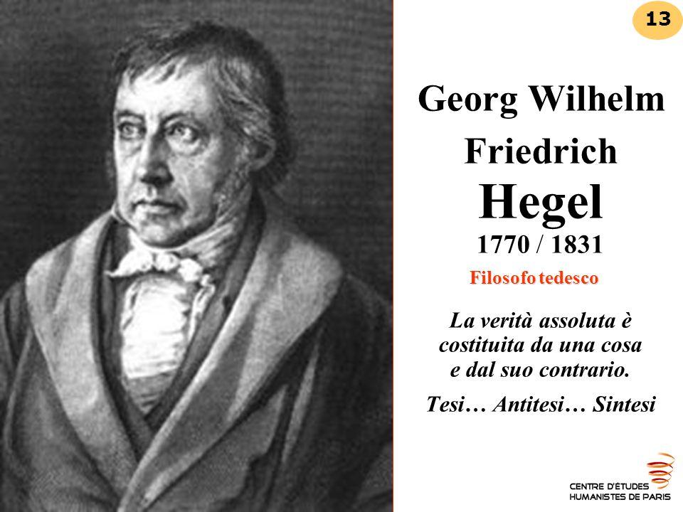 Georg Wilhelm Friedrich Hegel 1770 / 1831 Filosofo tedesco La verità assoluta è costituita da una cosa e dal suo contrario. Tesi… Antitesi… Sintesi