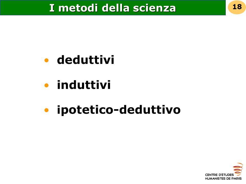 I metodi della scienza 18 deduttivi induttivi ipotetico-deduttivo