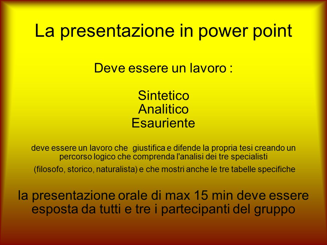 La presentazione in power point