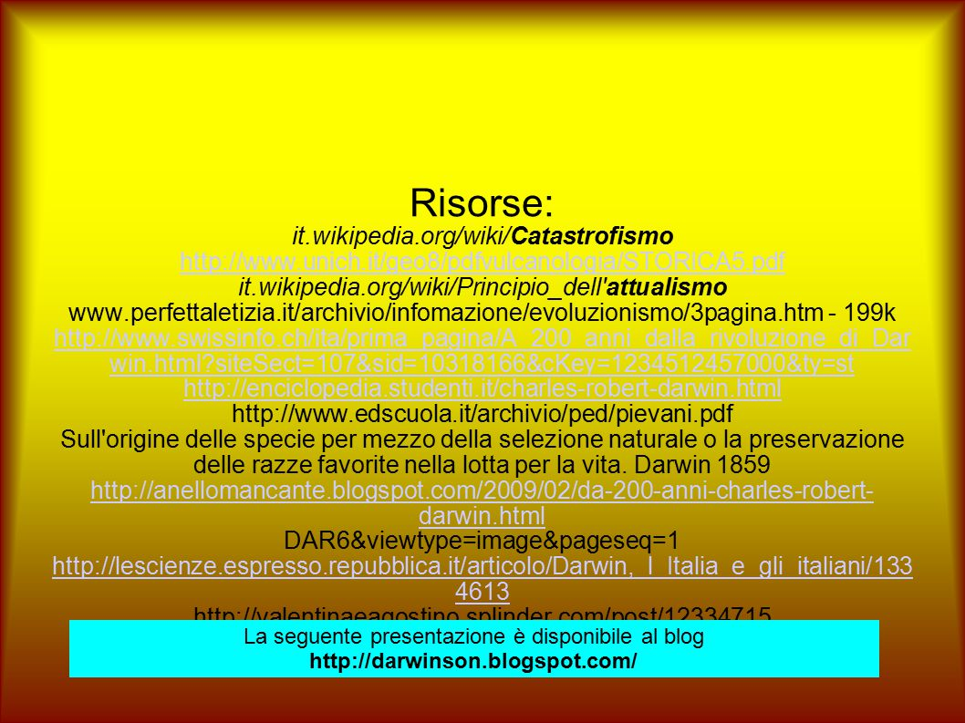 Risorse: it.wikipedia.org/wiki/Catastrofismo