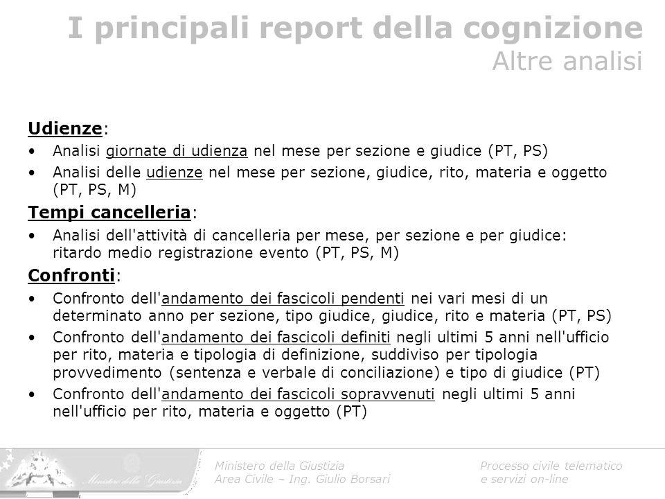 I principali report della cognizione Altre analisi