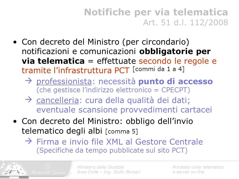 Notifiche per via telematica Art. 51 d.l. 112/2008
