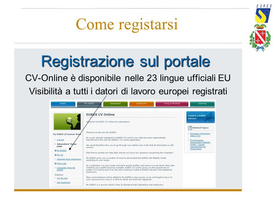 Come registarsi Registrazione sul portale