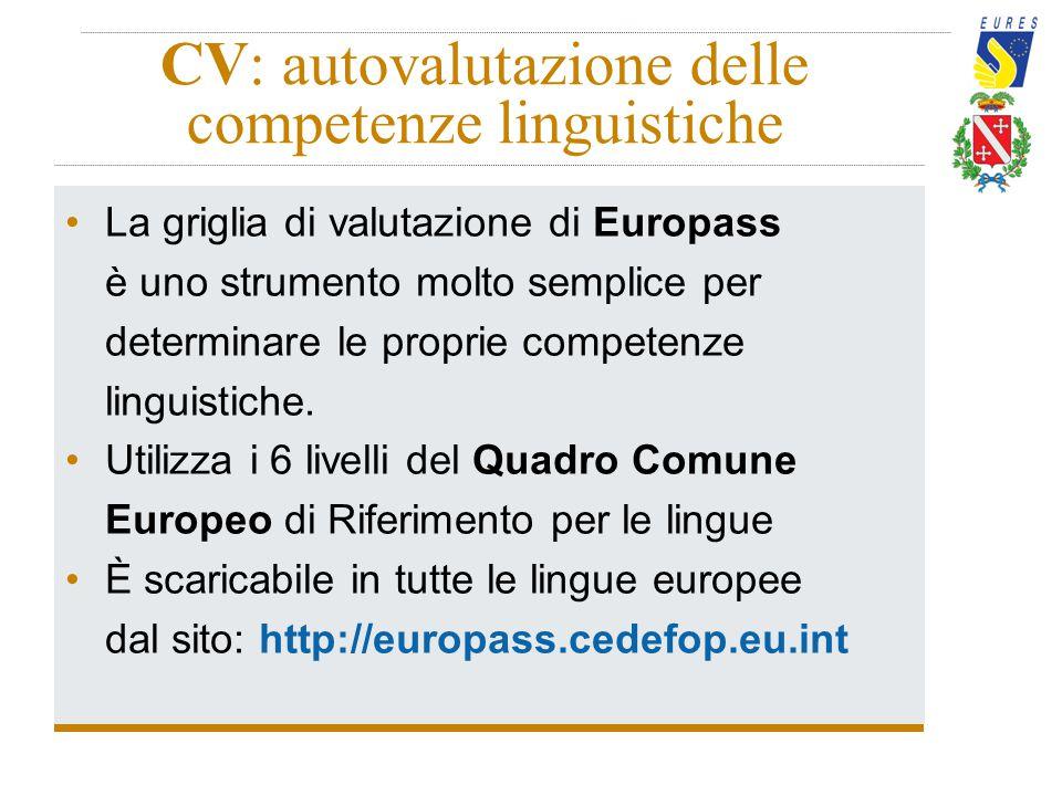 CV: autovalutazione delle competenze linguistiche