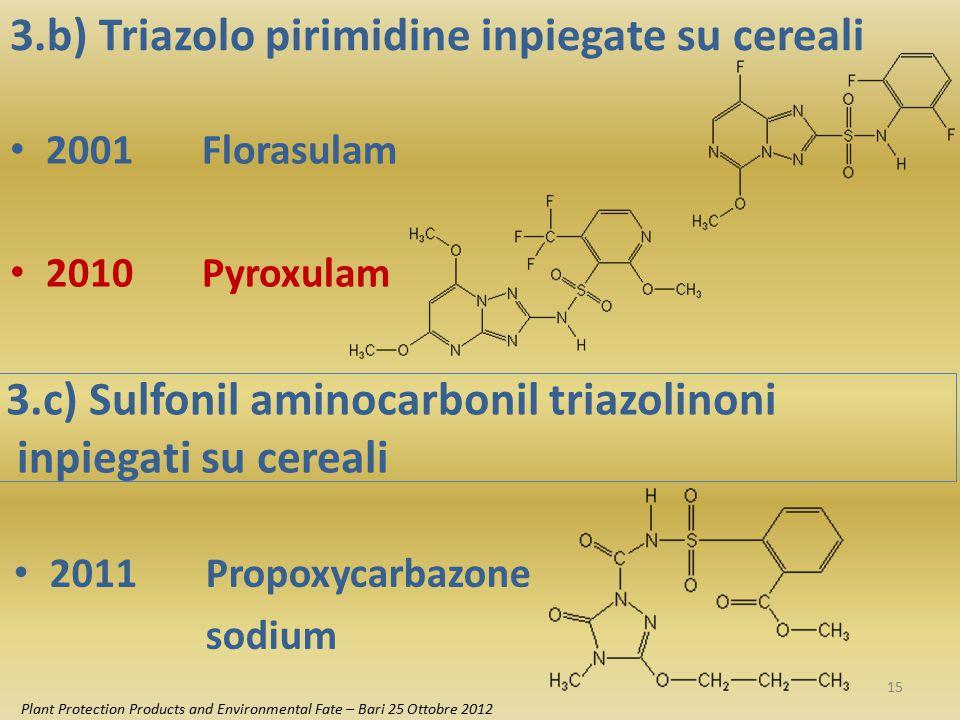 3.b) Triazolo pirimidine inpiegate su cereali