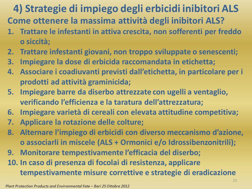 4) Strategie di impiego degli erbicidi inibitori ALS