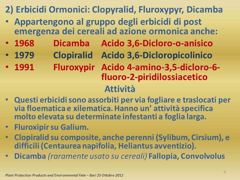 2) Erbicidi Ormonici: Clopyralid, Fluroxypyr, Dicamba