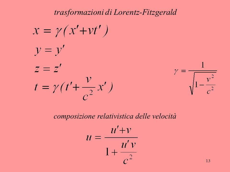 trasformazioni di Lorentz-Fitzgerald