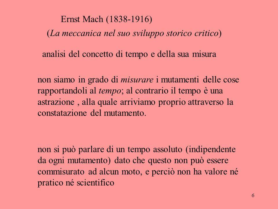 Ernst Mach (1838-1916) (La meccanica nel suo sviluppo storico critico) analisi del concetto di tempo e della sua misura.