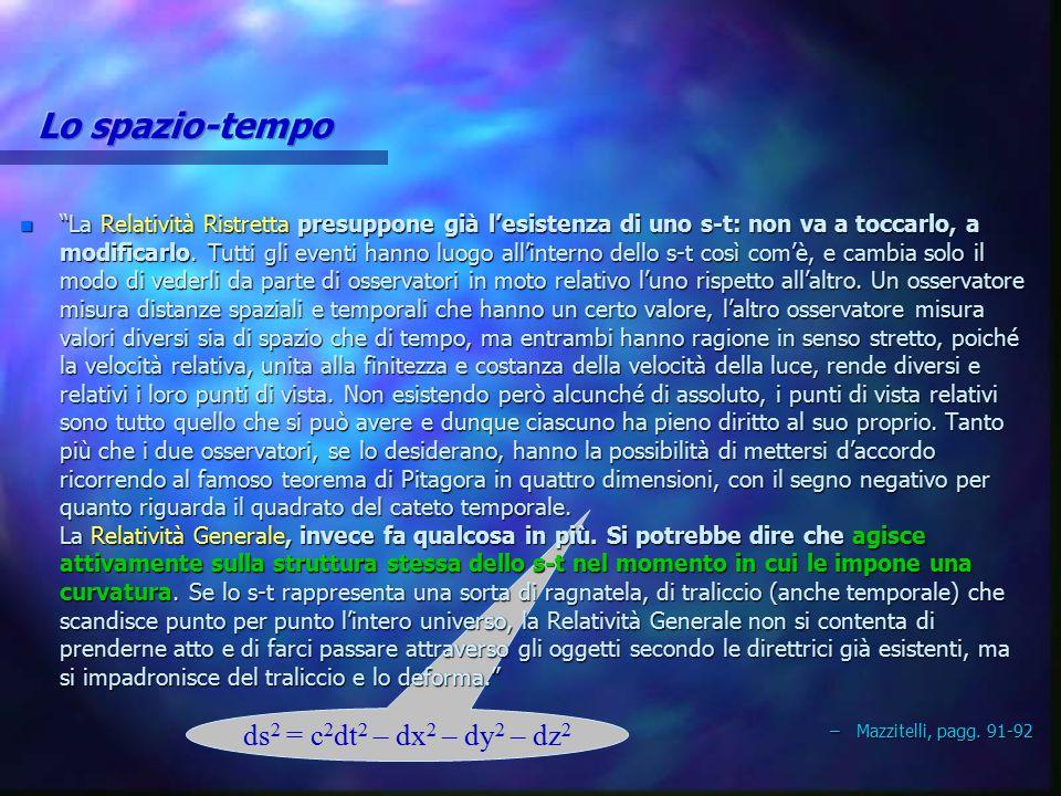 Lo spazio-tempo ds2 = c2dt2 – dx2 – dy2 – dz2