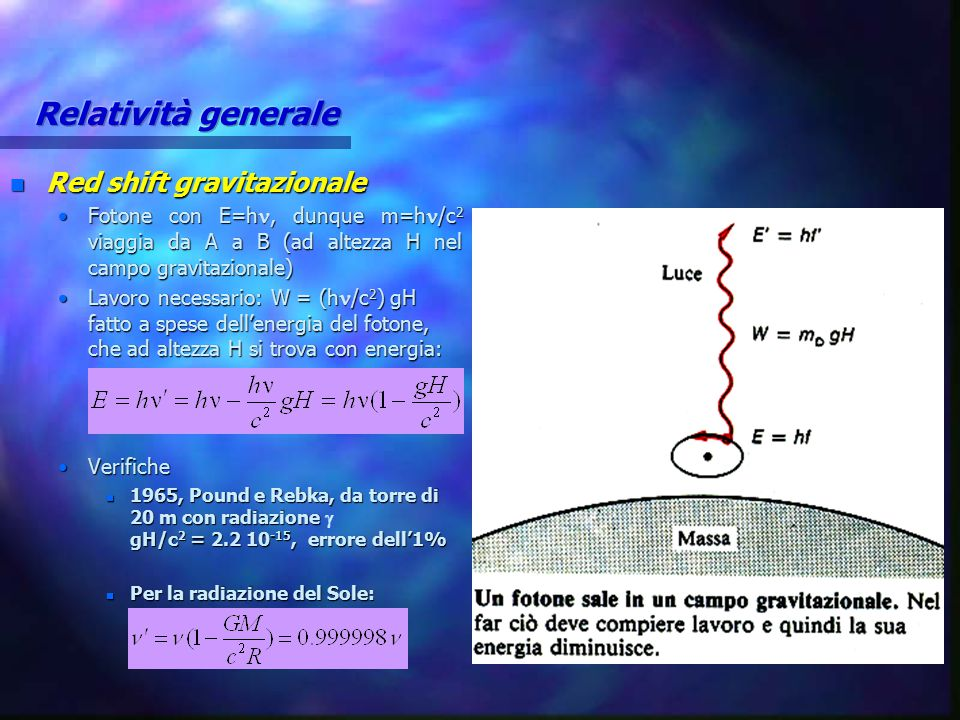 Relatività generale Red shift gravitazionale