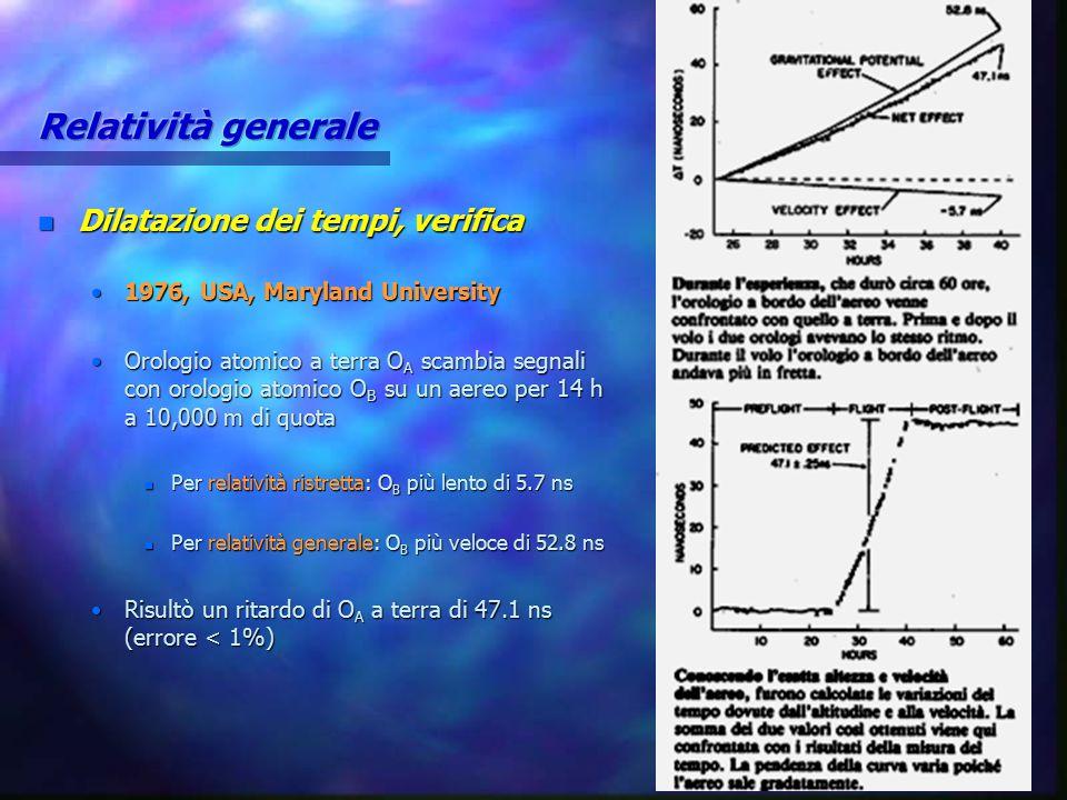 Relatività generale Dilatazione dei tempi, verifica
