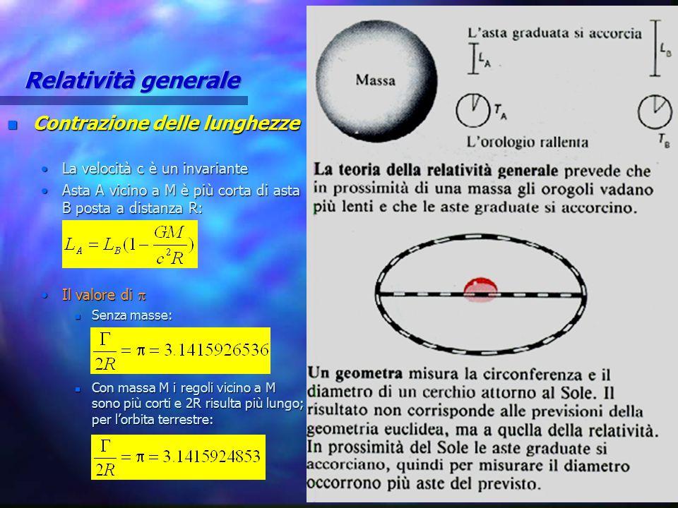 Relatività generale Contrazione delle lunghezze