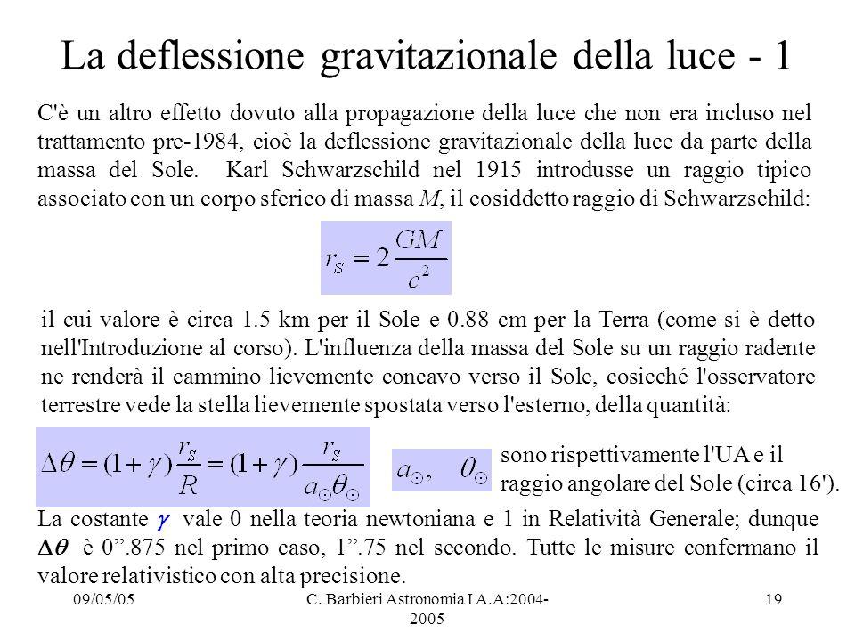 La deflessione gravitazionale della luce - 1