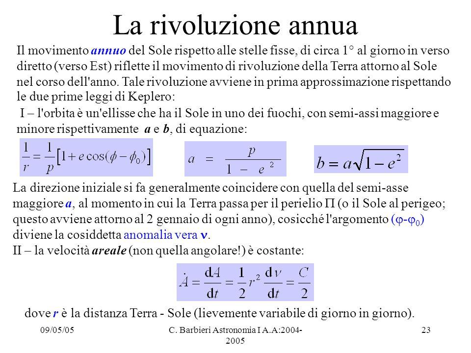 C. Barbieri Astronomia I A.A:2004-2005