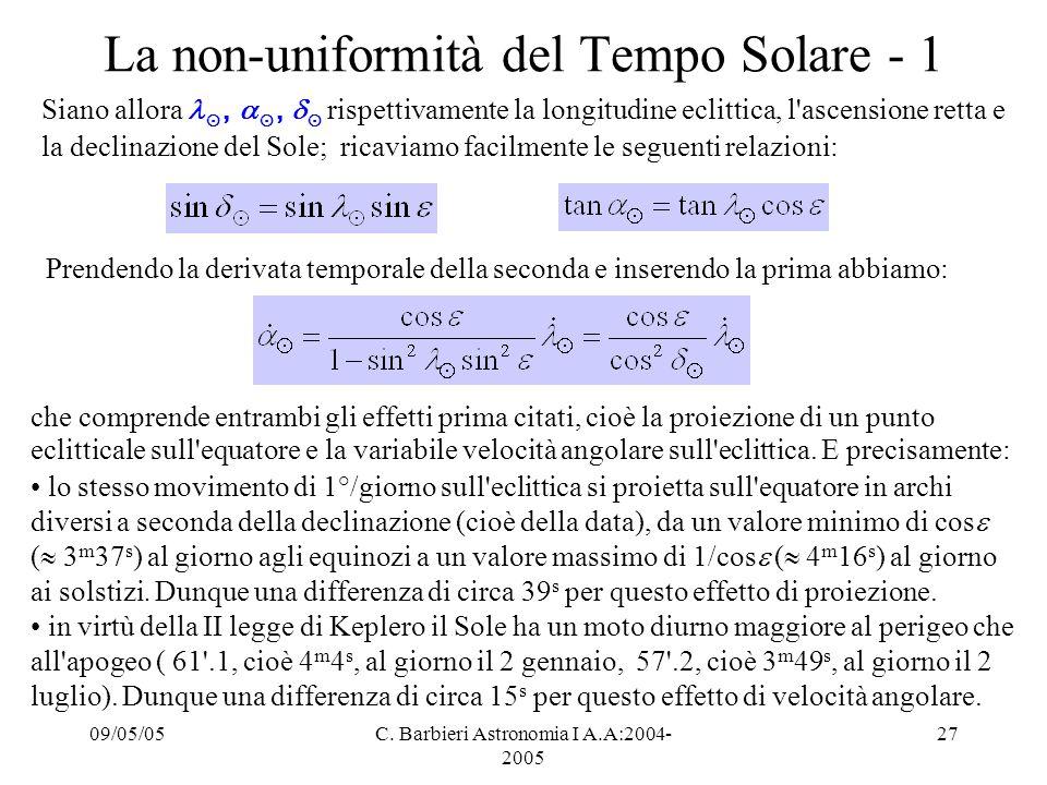 La non-uniformità del Tempo Solare - 1