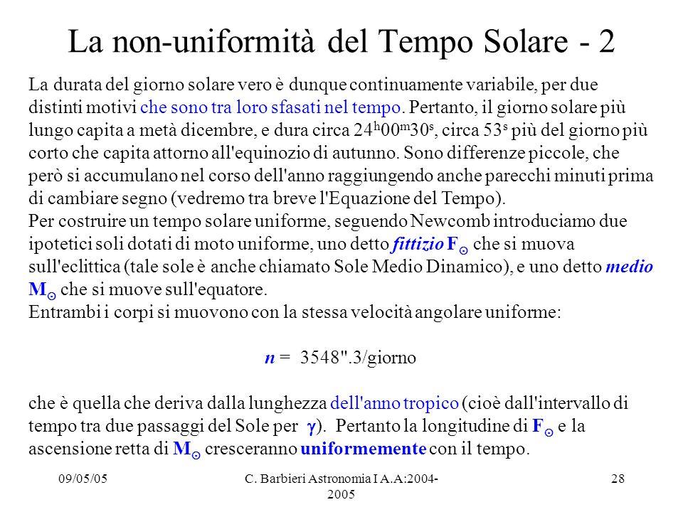 La non-uniformità del Tempo Solare - 2