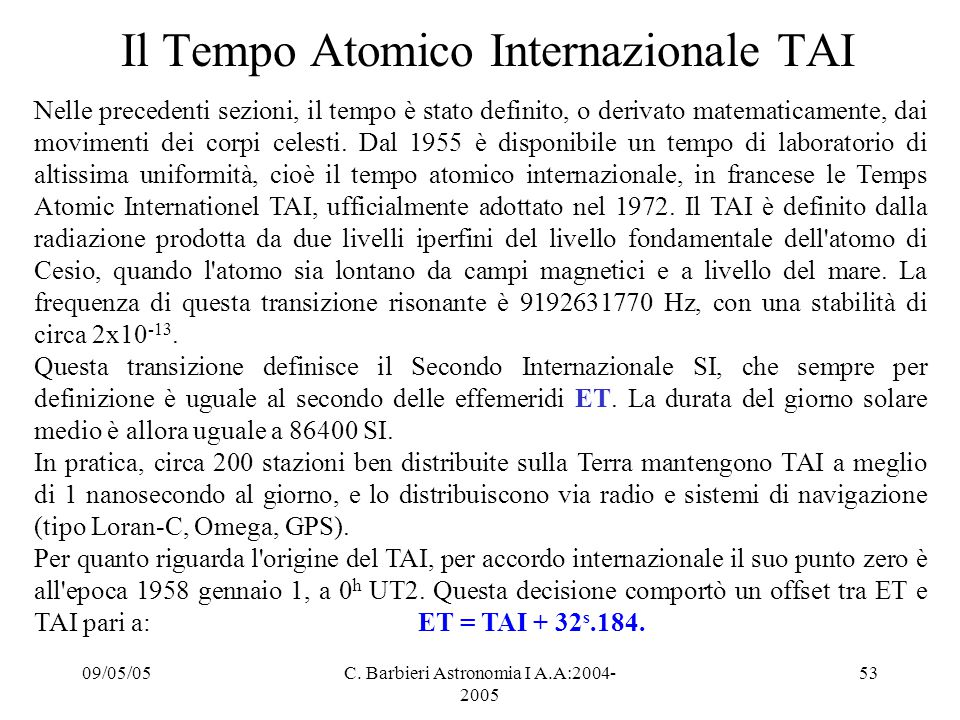 Il Tempo Atomico Internazionale TAI