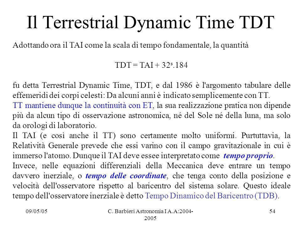 Il Terrestrial Dynamic Time TDT