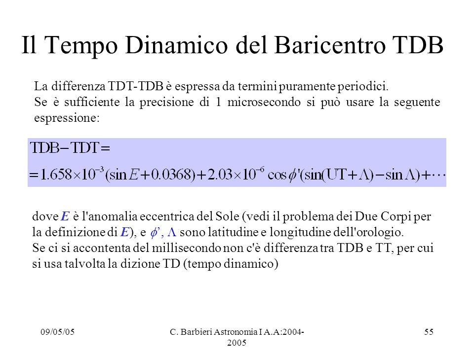 Il Tempo Dinamico del Baricentro TDB