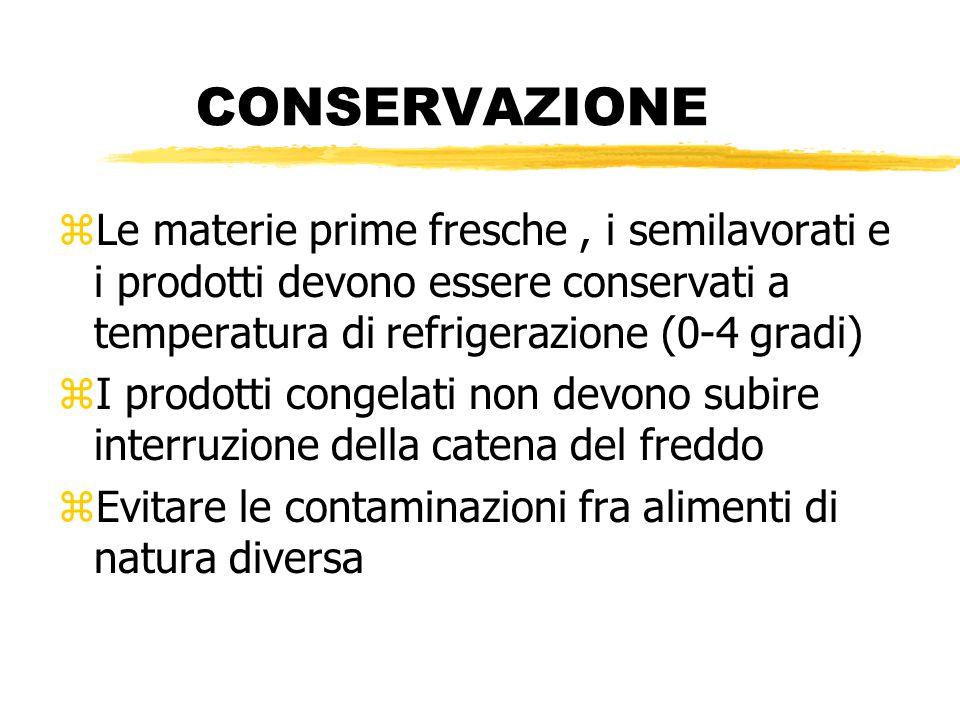 CONSERVAZIONE Le materie prime fresche , i semilavorati e i prodotti devono essere conservati a temperatura di refrigerazione (0-4 gradi)