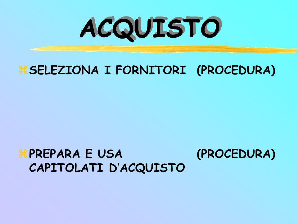 ACQUISTO SELEZIONA I FORNITORI PREPARA E USA CAPITOLATI D'ACQUISTO