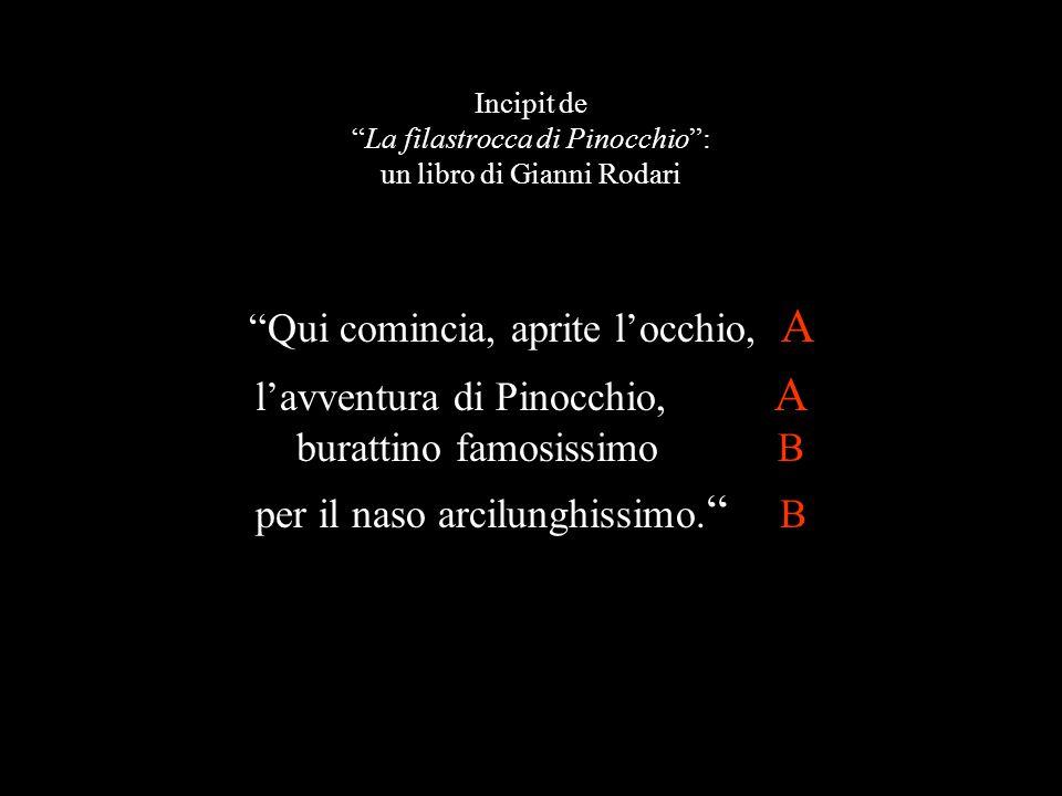 Incipit de La filastrocca di Pinocchio : un libro di Gianni Rodari