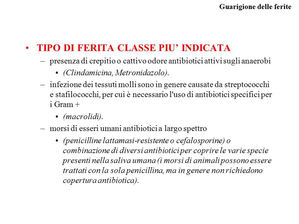 TIPO DI FERITA CLASSE PIU' INDICATA