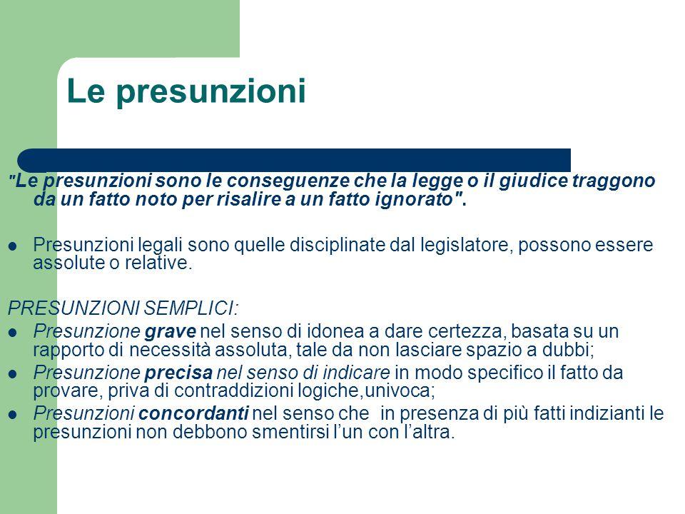 Le presunzioni Le presunzioni sono le conseguenze che la legge o il giudice traggono da un fatto noto per risalire a un fatto ignorato .