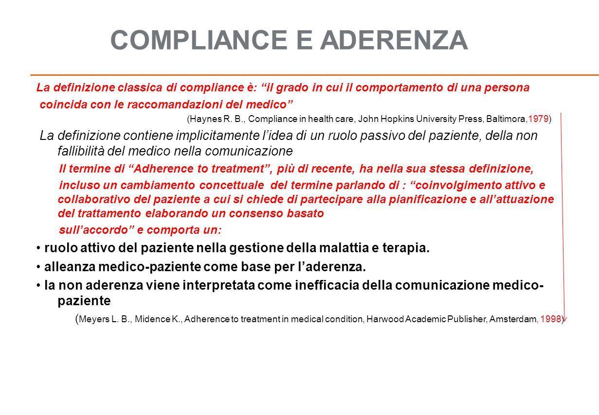 COMPLIANCE E ADERENZA La definizione classica di compliance è: il grado in cui il comportamento di una persona.
