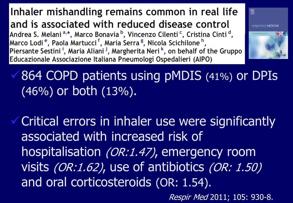 864 COPD patients using pMDIS (41%) or DPIs (46%) or both (13%).