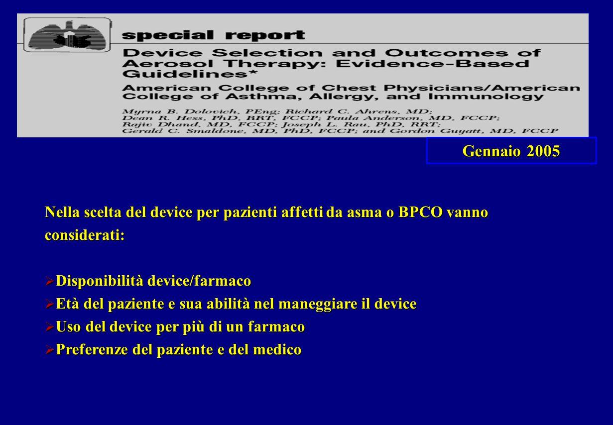 Gennaio 2005 Nella scelta del device per pazienti affetti da asma o BPCO vanno considerati: Disponibilità device/farmaco.